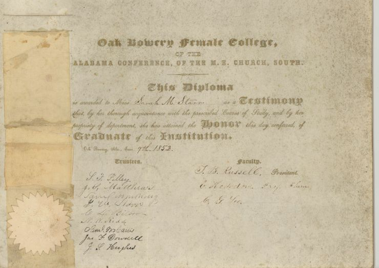 Sarah's Diploma Oak Bowery Female College